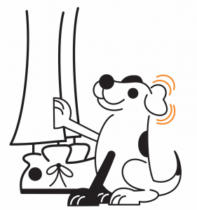 cartoon dog alerting person to a sound