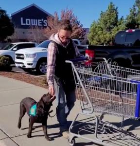 Woman feeding an assistance dog a treat