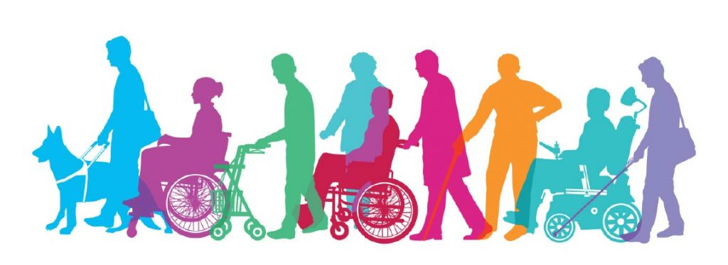 colorful sillouhettes depicting different types of people with different types of disabilities