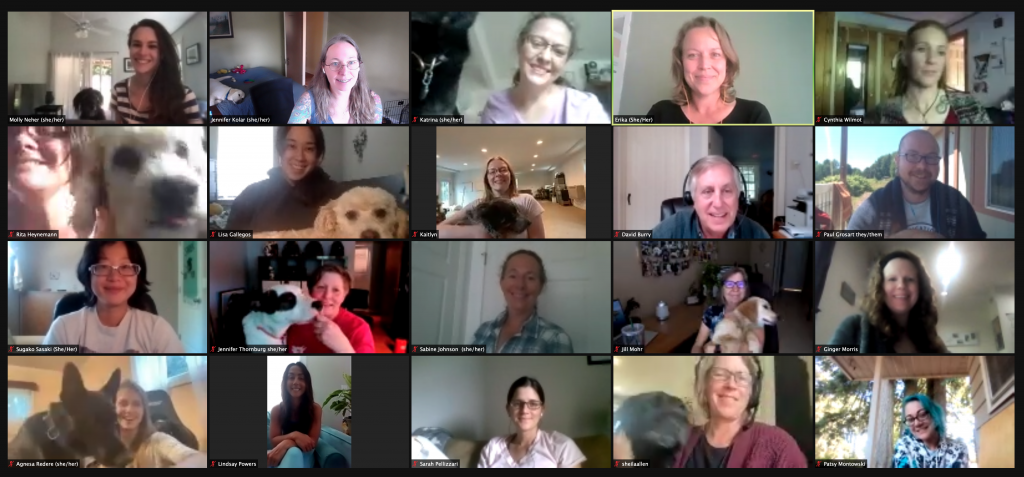 multiple people and dogs displayed on zoom boxes